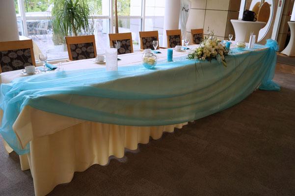 Front-Dekoration Ehrenplatz Tisch des Brautpaares