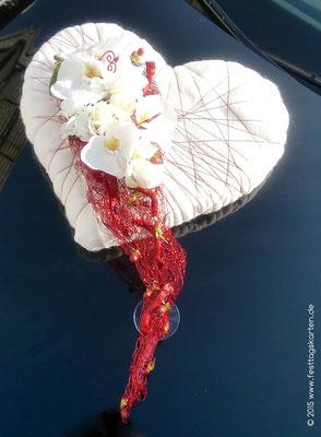 Orchideen Herz als Fahrzeugschmuck, Drahtgeflecht und Wollfilz