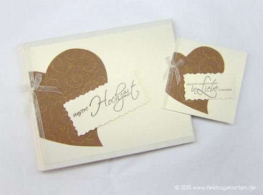 Hochzeits Set: Einladungskarte und Gästebuch, Dekor Glitter Swirl. Embossing Stempeltechnik