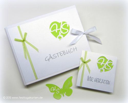 """Hochzeits Set """"Mongrammherz"""": Einladungskarte, Gästebuch und Namensschild """"Schmetterling"""". Silhouette Schneidetechnik und Embossing Stempeltechnik"""