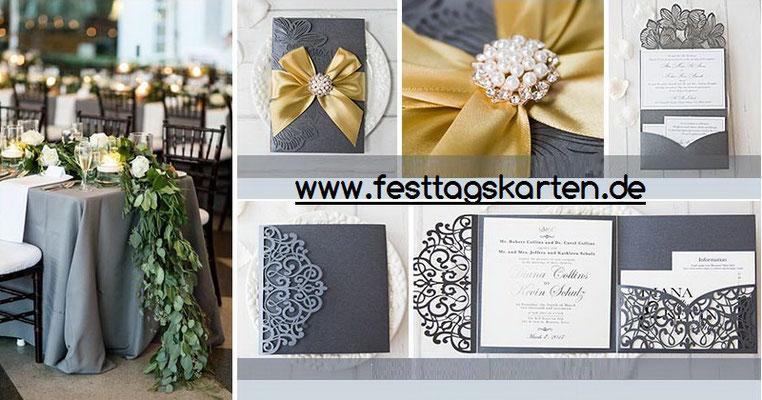 pocketfold mit lasercut kombiniert, Einladungskarte, Hochzeitskarte