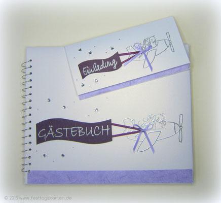 Hochzeits Set: Einladungskarte und Gästebuch, Straßherzchen. Embossing Stempeltechnik