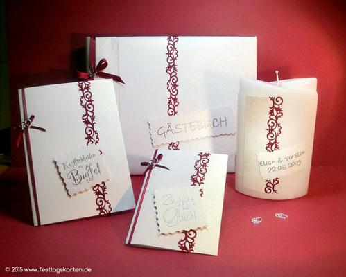 Hochzeits Set: Einladungskarte, Buffetkarte, Gästebuch und Traukerze, Ornamentbordüre, Embossing Stempeltechnik