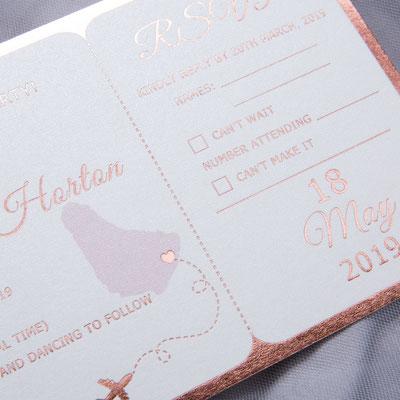 Flugticket Einladungskarte zur Hochzeit, Heißfolien Druck in Rosé Gold
