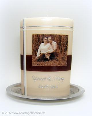 Hochzeitskerze, Fotodruck, Dekor und Beschriftung Wachs, handgelegt