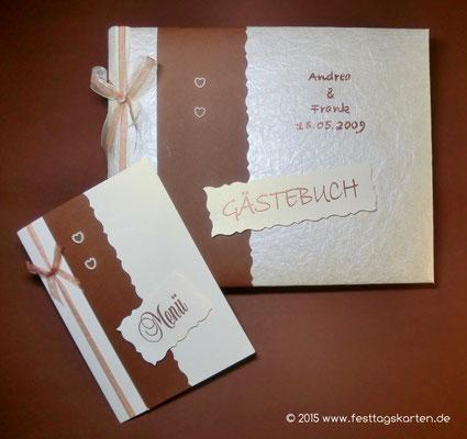 Hochzeits Set: Einladungskarte und Gästebuch, Perlenherzchen. Embossing Stempeltechnik
