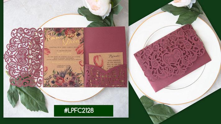 Lasercut Pocketfold Karte #LPFC2128, Burgundy Shimmer und Blush Shimmer