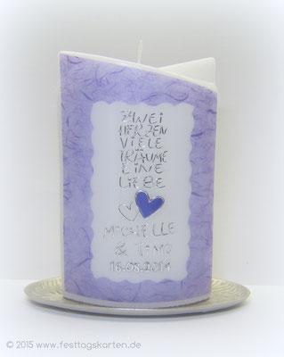 """Hochzeitskerze """"...eine Liebe"""", Japanseide, Dekor und Beschriftung Wachs, handgelegt"""