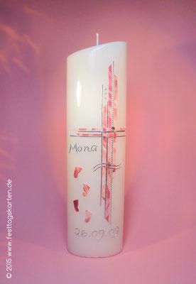 Taufkerze, Rosenprint, Wachsdekor und Beschriftung, handgelegt