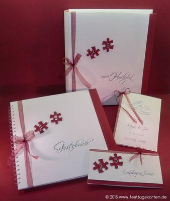 Hochzeits Set: Einladungskarte, Kirchenheft, Gästebuch und Fotoalbum, Embossing Stempeltechnik