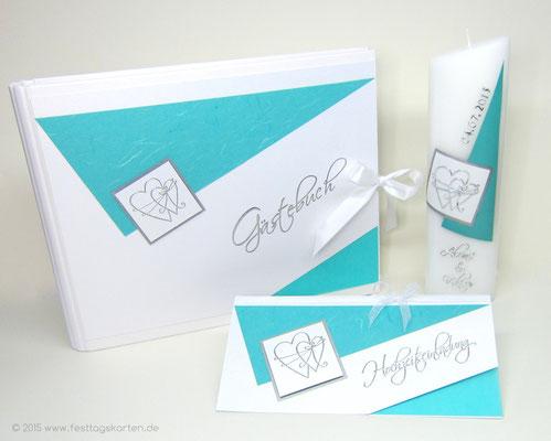 Hochzeits Set: Einladungskarte, Gästebuch und Traukerze. Embossing Stempeltechnik