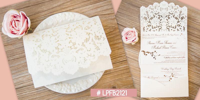 Lasercut Pocket Fold Karte #LPFB2121, Ivory Shimmer