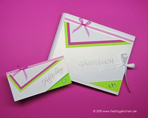 Hochzeits Set: Einladungskarte und Gästebuch. Embossing Stempeltechnik