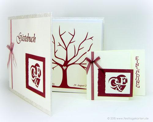 Einladung zur Hochzeit und Gästebuch mit Wedding Tree. Silhouette Schneidetechnik