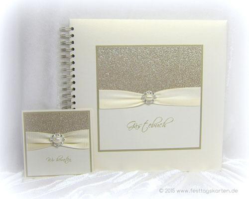 Hochzeits-Set: Einladungskarte und Gästebuch, Glitter Gold, Satinband, Straßbrosche 56