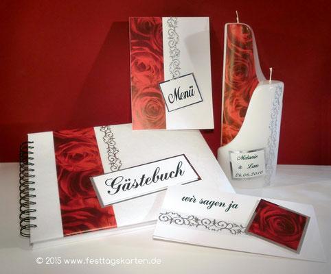 Hochzeits Set: Einladung, Menükarte, Gästebuch und 2-teilige Traukerze, Rosendekor mit Ornamentbordüre, Embossing Stempeltechnik