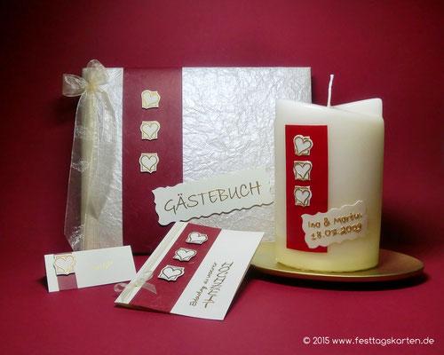 Hochzeits Set: Einladungskarte, Namenskärtchen, Gästebuch und Traukerze, Embossing Stempeltechnik