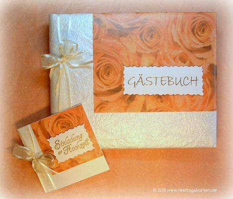 Hochzeits Set: Einladungskarte und Gästebuch, Rosendekor. Embossing Stempeltechnik