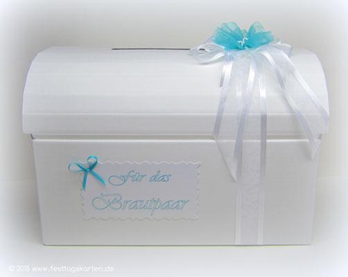 Briefbox mit Schleife und Schild, 2 Perlenherzchen