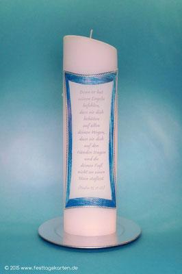 Taufkerze Rückseite, Text gedruckt, Wachsdekor handgelegt