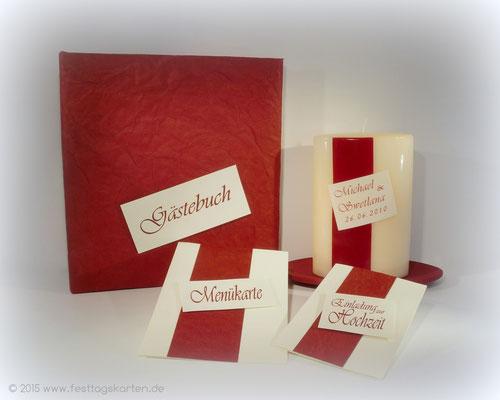 Hochzeits Set: Einladungskarte, Menükarte, Gästebuch und Traukerze, Embossing Stempeltechnik
