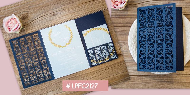 Lasercut Pocket Fold Karte #LPFC2127, Glittering Navy