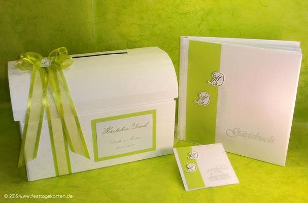 Hochzeits Set: Einladungskarte, Gästebuch und Briefbox. Embossing Stempeltechnik