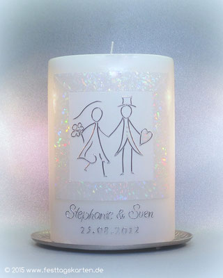 """Hochzeitskerze """"Brautpaar"""", Hologrammwachs, Motiv Dekor und Beschriftung Wachs, handgelegt"""