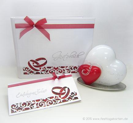 Hochzeits Set: Einladungskarte, Gästebuch und Traukerze. Silhouette Schneidetechnik
