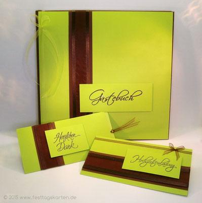 Hochzeits Set: Einladungskarte und Gästebuch, Dankekarte mit Schiebefunktion. Embossing Stempeltechnik