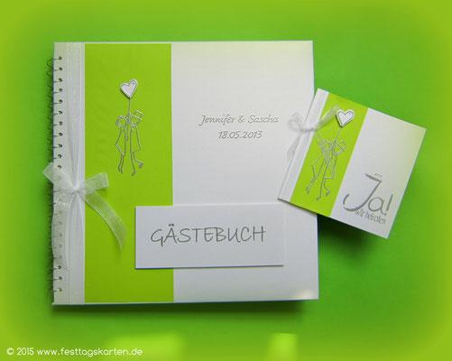 """Hochzeits Set """"Himmelhoch"""": Einladungskarte und Gästebuch. Embossing Stempeltechnik"""