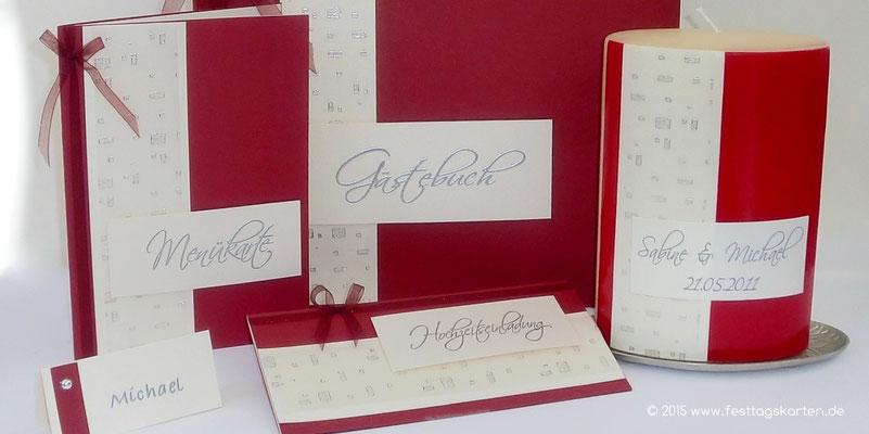 Einladungskarte, Menükarte, Gästebuch, Tischkärtchen und Hochzeitskerze als Set