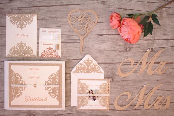 Hochzeits-Set: Einladungskarte, Menükarte, Freudentränen, Gästebuch, Caketopper, Mr-and-Mrs-Anstecker
