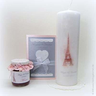 Hochzeits Set: Einladungskarte, Traukerze und Gastgeschenk: Etikett für Marmeladen Gläschen. Alles mit kundeneigener Zeichnung gestaltet.