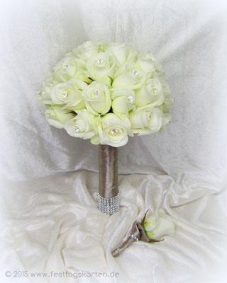 Brautstrauß Rosen Weiß, Kopf an Kopf gearbeitet, Diamantnadeln, Straßband. Passender Reveranstecker, Satin Taupe