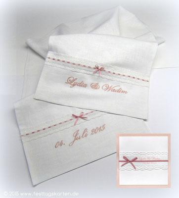 """Brot-Tuch, bestickt: Für die """"Brot-Tuch"""" Zeremonie bei einer Russischen Hochzeit. Passende Einladungskarte"""