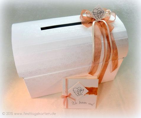 Briefbox mit Schleife und Einladungskarte, Embossing Stempeltechnik Motiv
