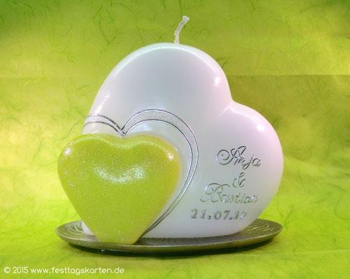"""Hochzeitskerze """"Zwei Herzen"""", Dekor und Beschriftung Wachs, handgelegt"""