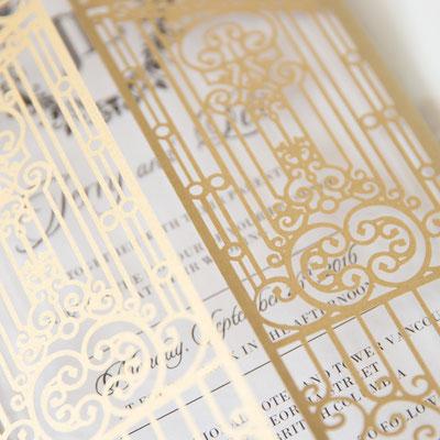 Lasercut Karte #B0172 - Sonderfarbe Metallic Gold