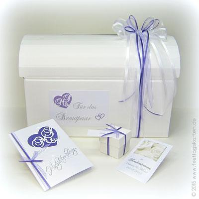 """Hochzeits Set: Einladungskarte, Gastgeschenk, Briefbox und """"Freudentränen""""-Täschchen. Silhouette Schneidetechnik"""