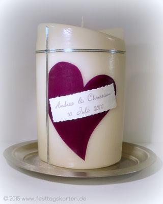 Hochzeitskerze, Straßsteinchen, Dekor Wachs, handgelegt, Beschriftung Druck