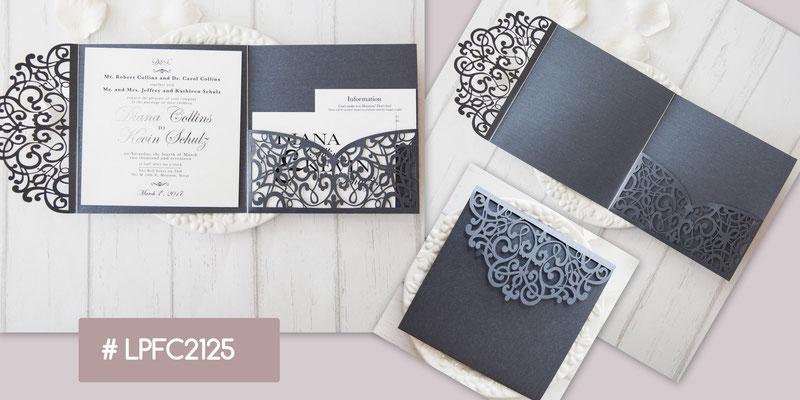 Lasercut Pocket Fold Karte #LPFC2125, Grey Shimmer