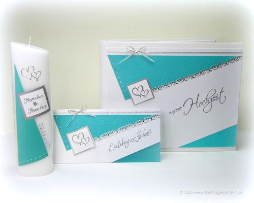 Hochzeits Set: Einladungskarte, Gästebuch und Traukerze, Ornamentbordüre, Swarowski Straßsteinchen. Embossing Stempeltechnik
