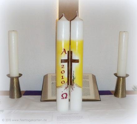 Osterkerzen 2010, Geschwister Kerzen für die Gemeinde Karlsdorf-Neuthard