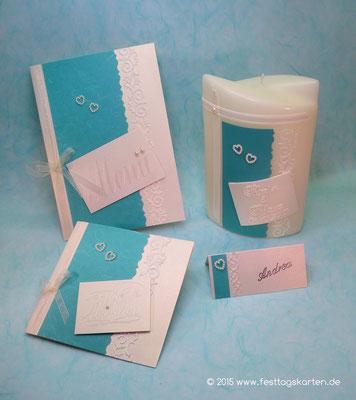 Hochzeits Set: Einladungskarte, Menükarte, Namenskärtchen und Traukerze, Ornamentbordüre, Perlenherzchen. Embossing Stempeltechnik