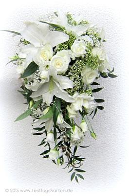 Wunderschöner Brautstrauß Tropfenform: Weiße Rosen und Lilien, Perlen