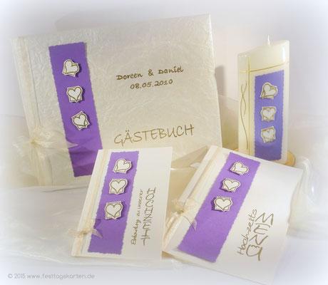 Hochzeits Set: Einladungskarte, Menükarte, Gästebuch und Traukerze. Embossing Stempeltechnik