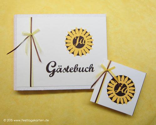 Hochzeits Set: Einladungskarte und Gästebuch. Silhouette Schneidetechnik