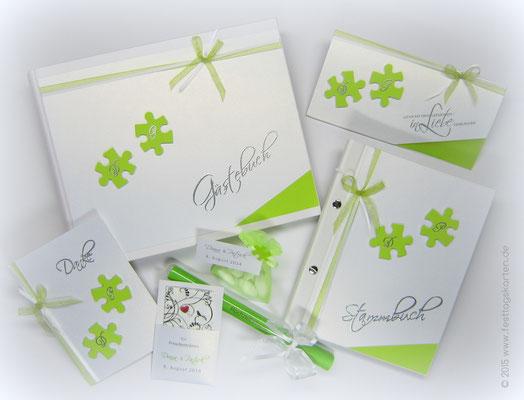 """Hochzeits Set """"Puzzle"""": Einladungskarte, Danksagungskarte, Gästebuch, Stammbuch, Hochzeitsmenü im Glasröhrchen, """"Freudentränen""""-Täschchen, Gastgeschenk """"Hochzeitmandeln"""". Embossing Stempeltechnik"""