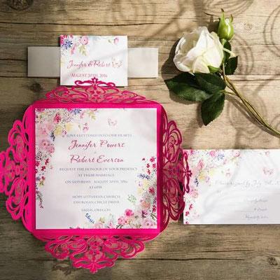 Lasercutkarte hochzeitskarte magenta spitze boho wedding